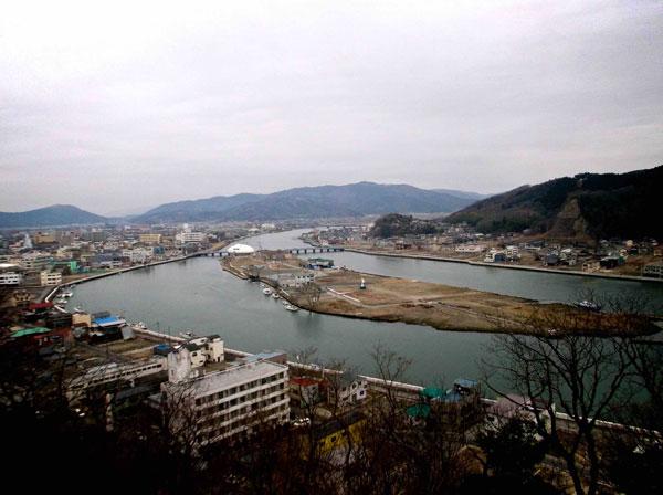 A distant view of coastal devestation post-3/11 in Miyagi