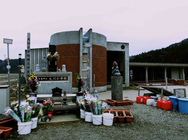 A shrine at Okawa Elementary School in Ishinomaki